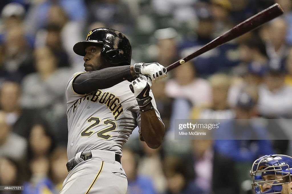 <a gi-track='captionPersonalityLinkClicked' href=/galleries/search?phrase=Andrew+McCutchen&family=editorial&specificpeople=2364814 ng-click='$event.stopPropagation()'>Andrew McCutchen</a> #22 of the Pittsburgh Pirates hits a double in the top of the sixth inning against the Milwaukee Brewers at Miller Park on April 12, 2014 in Milwaukee, Wisconsin.