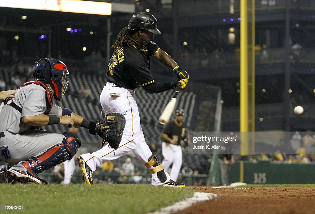 <a gi-track='captionPersonalityLinkClicked' href=/galleries/search?phrase=Andrew+McCutchen&family=editorial&specificpeople=2364814 ng-click='$event.stopPropagation()'>Andrew McCutchen</a> #22 of the Pittsburgh Pirates hits a RBI single in the fourth inning against the St. Louis Cardinals during the game on August 27, 2012 at PNC Park in Pittsburgh, Pennsylvania.