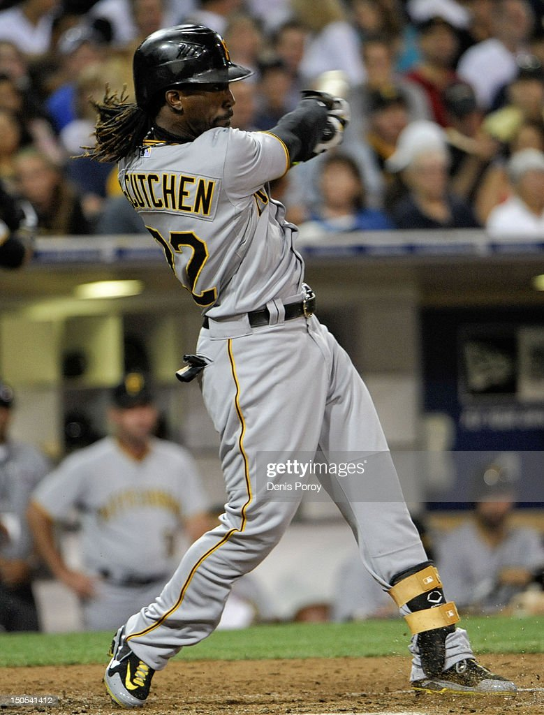 <a gi-track='captionPersonalityLinkClicked' href=/galleries/search?phrase=Andrew+McCutchen&family=editorial&specificpeople=2364814 ng-click='$event.stopPropagation()'>Andrew McCutchen</a> #22 of the Pittsburgh Pirates hits a single during the sixth inning of a baseball game against the San Diego Padres at Petco Park on August 20, 2012 in San Diego, California.