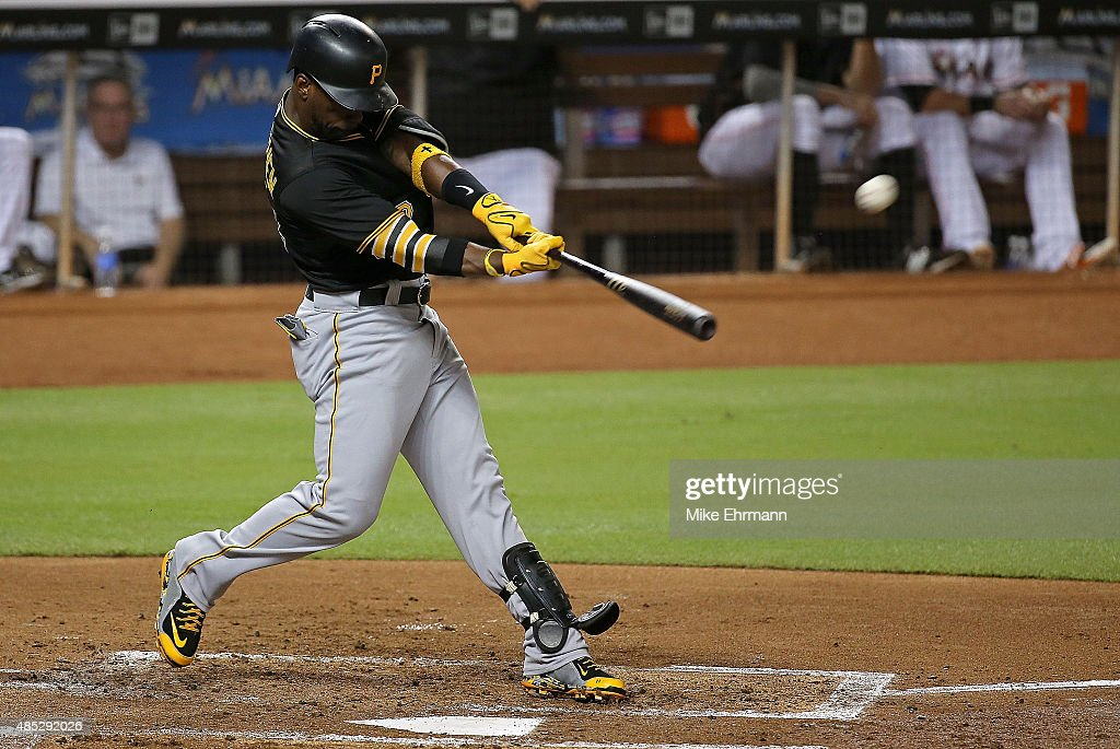 <a gi-track='captionPersonalityLinkClicked' href=/galleries/search?phrase=Andrew+McCutchen&family=editorial&specificpeople=2364814 ng-click='$event.stopPropagation()'>Andrew McCutchen</a> #22 of the Pittsburgh Pirates hits a three run home run during a game against the Miami Marlins at Marlins Park on August 26, 2015 in Miami, Florida.
