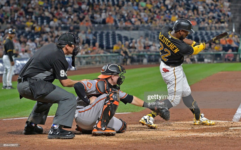 Andrew McCutchen #22 of the Pittsburgh Pirates hits a three run home run in the sixth inning during the game against the Baltimore Orioles at PNC Park on September 26, 2017 in Pittsburgh, Pennsylvania.