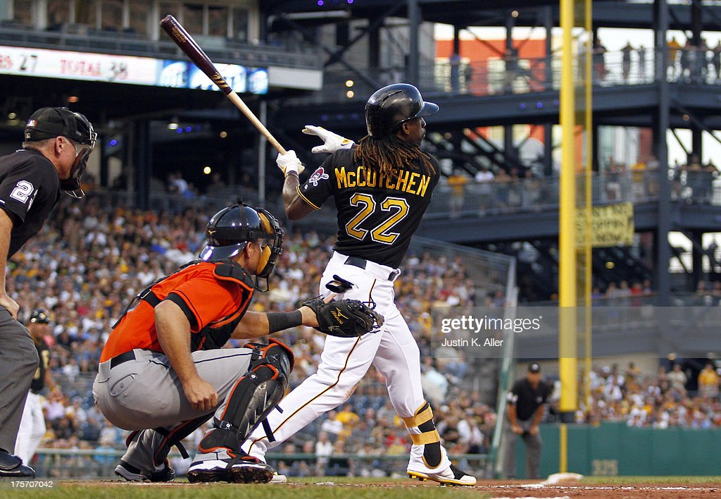 <a gi-track='captionPersonalityLinkClicked' href=/galleries/search?phrase=Andrew+McCutchen&family=editorial&specificpeople=2364814 ng-click='$event.stopPropagation()'>Andrew McCutchen</a> #22 of the Pittsburgh Pirates hits a two RBI double in the third inning against the Miami Marlins during the game on August 6, 2013 at PNC Park in Pittsburgh, Pennsylvania.