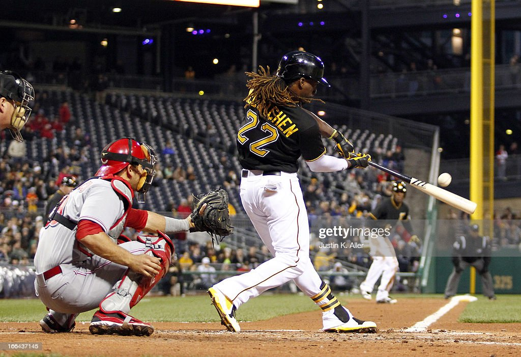 <a gi-track='captionPersonalityLinkClicked' href=/galleries/search?phrase=Andrew+McCutchen&family=editorial&specificpeople=2364814 ng-click='$event.stopPropagation()'>Andrew McCutchen</a> #22 of the Pittsburgh Pirates hits a two-RBI single in the second inning against the Cincinnati Reds during the game on April 12, 2013 at PNC Park in Pittsburgh, Pennsylvania.