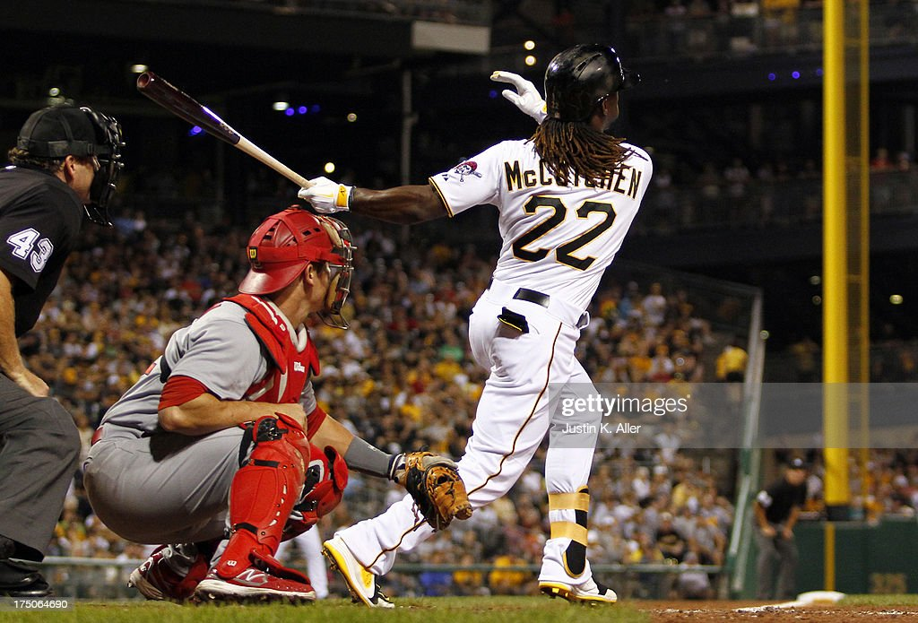 <a gi-track='captionPersonalityLinkClicked' href=/galleries/search?phrase=Andrew+McCutchen&family=editorial&specificpeople=2364814 ng-click='$event.stopPropagation()'>Andrew McCutchen</a> #22 of the Pittsburgh Pirates hits a two-run home run in the fifth inning against the St. Louis Cardinals during game two of a doubleheader on July 30, 2013 at PNC Park in Pittsburgh, Pennsylvania.