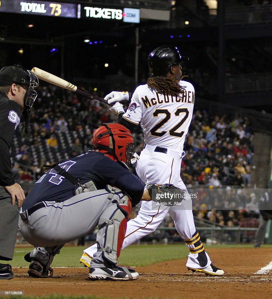 <a gi-track='captionPersonalityLinkClicked' href=/galleries/search?phrase=Andrew+McCutchen&family=editorial&specificpeople=2364814 ng-click='$event.stopPropagation()'>Andrew McCutchen</a> #22 of the Pittsburgh Pirates hits an RBI double off the right field wall in the sixth inning against the Atlanta Braves during the game on April 20, 2013 at PNC Park in Pittsburgh, Pennsylvania.