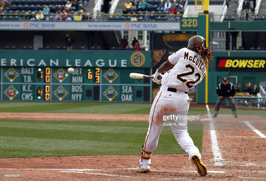 <a gi-track='captionPersonalityLinkClicked' href=/galleries/search?phrase=Andrew+McCutchen&family=editorial&specificpeople=2364814 ng-click='$event.stopPropagation()'>Andrew McCutchen</a> #22 of the Pittsburgh Pirates hits an RBI single in the ninth inning against the Chicago Cubs during the game on April 4, 2013 at PNC Park in Pittsburgh, Pennsylvania. The Cubs defeated the Pirates 3-2.