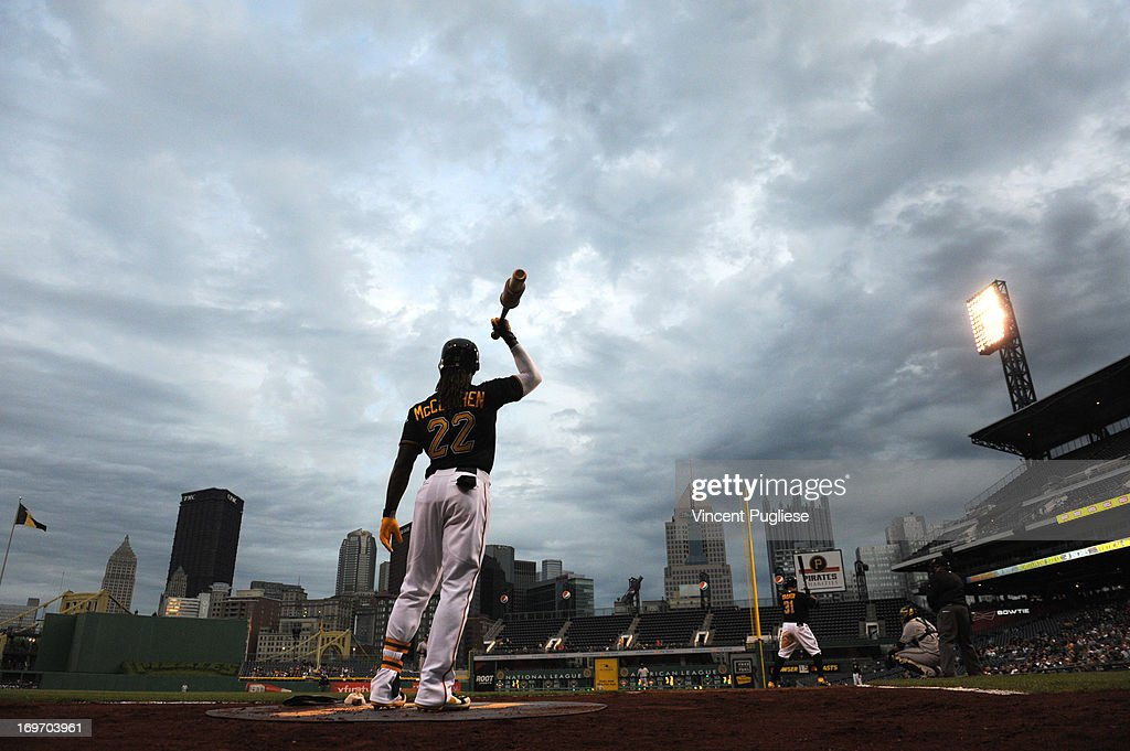 <a gi-track='captionPersonalityLinkClicked' href=/galleries/search?phrase=Andrew+McCutchen&family=editorial&specificpeople=2364814 ng-click='$event.stopPropagation()'>Andrew McCutchen</a> #22 of the Pittsburgh Pirates in the on deck circle against the Milwaukee Brewers at PNC Park on May 14, 2013 in Pittsburgh, Pennsylvania.