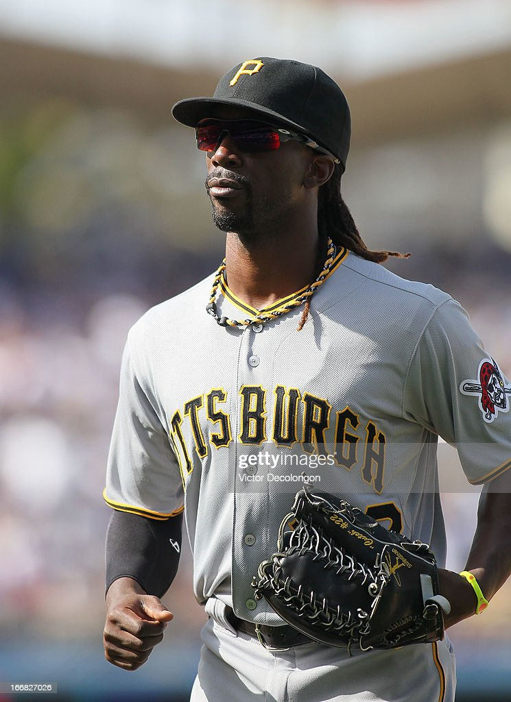 <a gi-track='captionPersonalityLinkClicked' href=/galleries/search?phrase=Andrew+McCutchen&family=editorial&specificpeople=2364814 ng-click='$event.stopPropagation()'>Andrew McCutchen</a> #22 of the Pittsburgh Pirates jogs back to the dugout during the MLB game against the Los Angeles Dodgers at Dodger Stadium on April 7, 2013 in Los Angeles, California. The Dodgers defeated the Pirates 6-2.