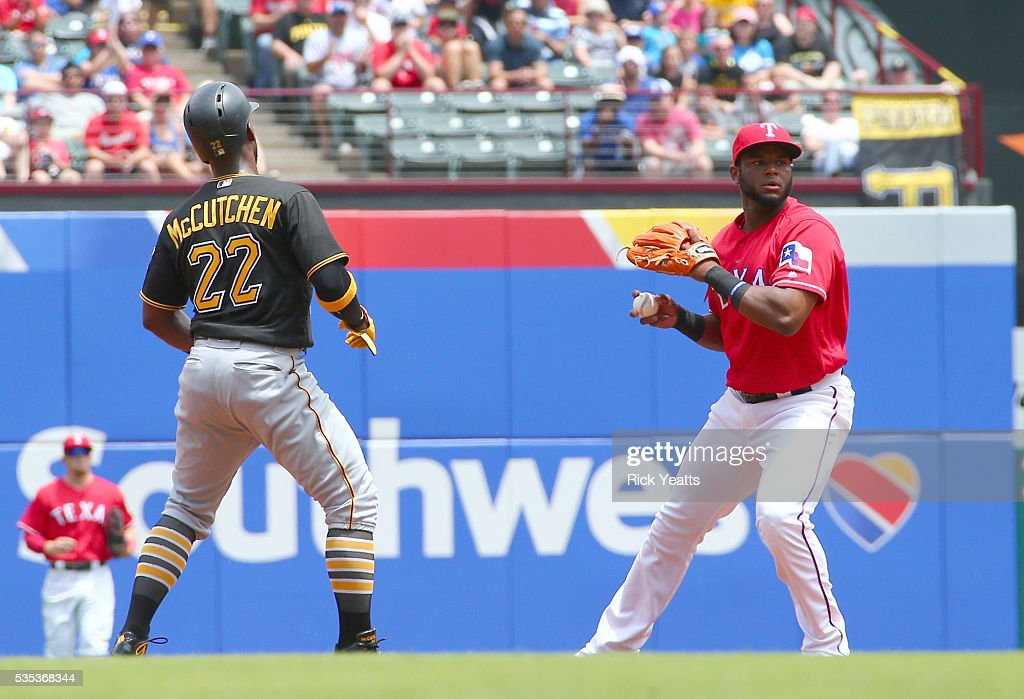 <a gi-track='captionPersonalityLinkClicked' href=/galleries/search?phrase=Andrew+McCutchen&family=editorial&specificpeople=2364814 ng-click='$event.stopPropagation()'>Andrew McCutchen</a> #22 of the Pittsburgh Pirates looks on after Hanser Alberto #2 of the Texas Rangers tags him out in the first inning at Globe Life Park in Arlington on May 29, 2016 in Arlington, Texas.