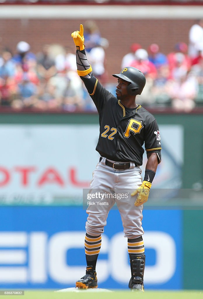 <a gi-track='captionPersonalityLinkClicked' href=/galleries/search?phrase=Andrew+McCutchen&family=editorial&specificpeople=2364814 ng-click='$event.stopPropagation()'>Andrew McCutchen</a> #22 of the Pittsburgh Pirates looks points to the sky after hitting a double in the first inning against the Texas Rangers at Globe Life Park in Arlington on May 29, 2016 in Arlington, Texas.