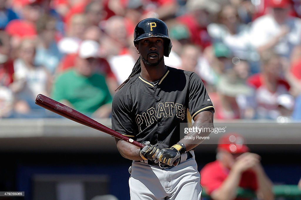 Andrew McCutchen #22 of the Pittsburgh Pirates looks to his dugout in the first inning of a game against the Philadelphia Phillies at Bright House Field on March 16, 2014 in Clearwater, Florida. Pittsburgh won the game 5-0.