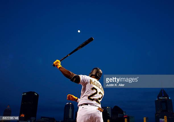 Andrew McCutchen of the Pittsburgh Pirates on deck in the sixth inning during the game against the Atlanta Braves at PNC Park on May 18 2016 in...