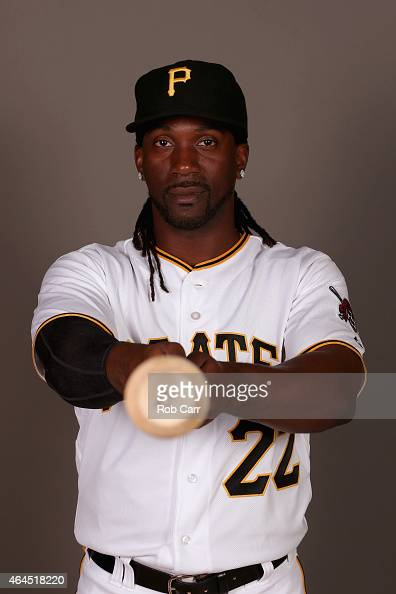 Andrew McCutchen of the Pittsburgh Pirates poses for a portrait on photo day on February 26 2015 at Pirate City in Bradenton Florida