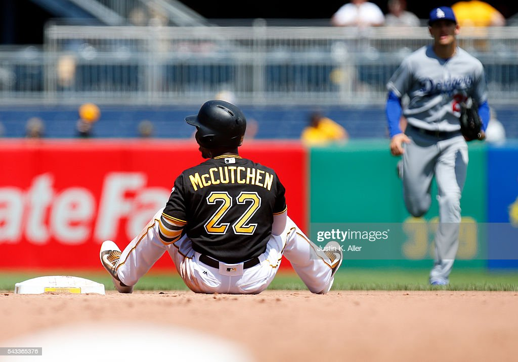 <a gi-track='captionPersonalityLinkClicked' href=/galleries/search?phrase=Andrew+McCutchen&family=editorial&specificpeople=2364814 ng-click='$event.stopPropagation()'>Andrew McCutchen</a> #22 of the Pittsburgh Pirates reacts after being thrown out attempting to steal second in the seventh inning during the game against the Los Angeles Dodgers at PNC Park on June 27, 2016 in Pittsburgh, Pennsylvania.