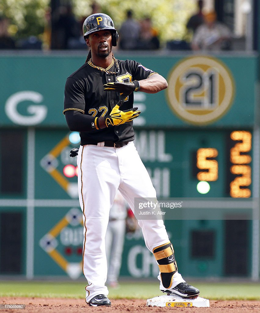 <a gi-track='captionPersonalityLinkClicked' href=/galleries/search?phrase=Andrew+McCutchen&family=editorial&specificpeople=2364814 ng-click='$event.stopPropagation()'>Andrew McCutchen</a> #22 of the Pittsburgh Pirates reacts after doubling in the first inning against the St. Louis Cardinals during the game on July 30, 2013 at PNC Park in Pittsburgh, Pennsylvania.