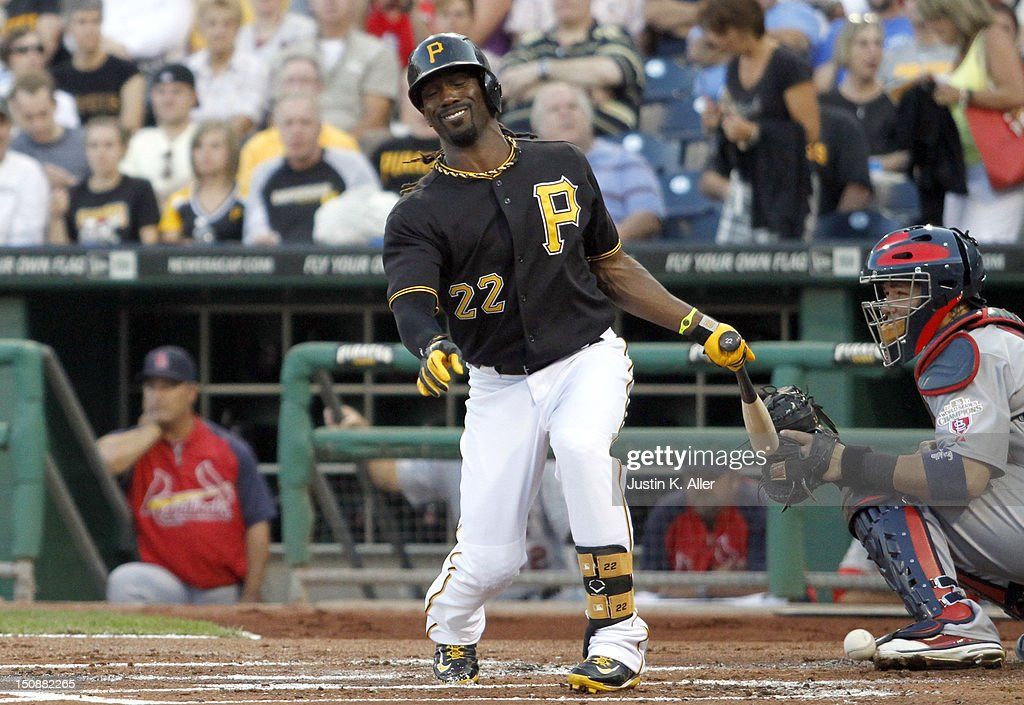 <a gi-track='captionPersonalityLinkClicked' href=/galleries/search?phrase=Andrew+McCutchen&family=editorial&specificpeople=2364814 ng-click='$event.stopPropagation()'>Andrew McCutchen</a> #22 of the Pittsburgh Pirates reacts after taking a foul ball in the foot against the St. Louis Cardinals during the game on August 28, 2012 at PNC Park in Pittsburgh, Pennsylvania.