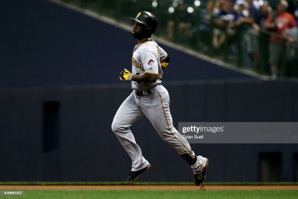 Andrew McCutchen #22 of the Pittsburgh Pirates rounds the bases after hitting his 200th career home run in the first inning against the Milwaukee Brewers at Miller Park on September 13, 2017 in Milwaukee, Wisconsin.