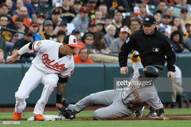 Andrew McCutchen of the Pittsburgh Pirates slides into Manny Machado of the Baltimore Orioles for a stolen base in the secoond inning at Oriole Park...