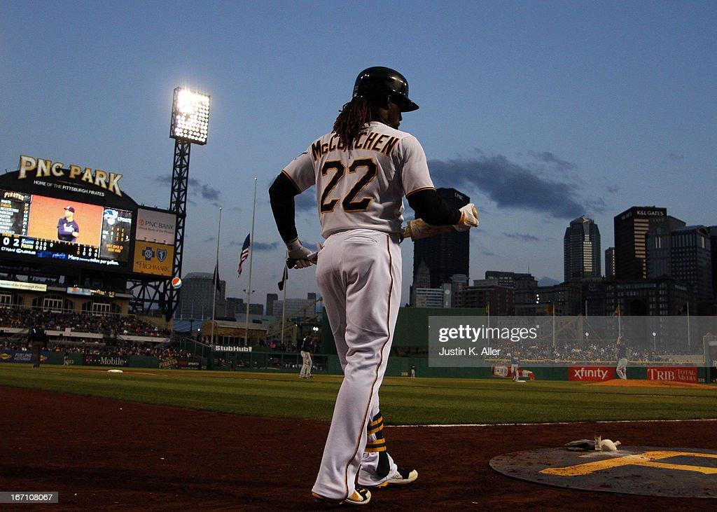 Andrew McCutchen #22 of the Pittsburgh Pirates waits on deck against the Atlanta Braves during the game on April 20, 2013 at PNC Park in Pittsburgh, Pennsylvania.