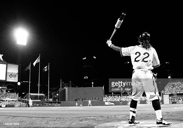 Andrew McCutchen of the Pittsburgh Pirates warms up in the on deck circle against the Kansas City Royals during interleague play on June 9 2012 at...