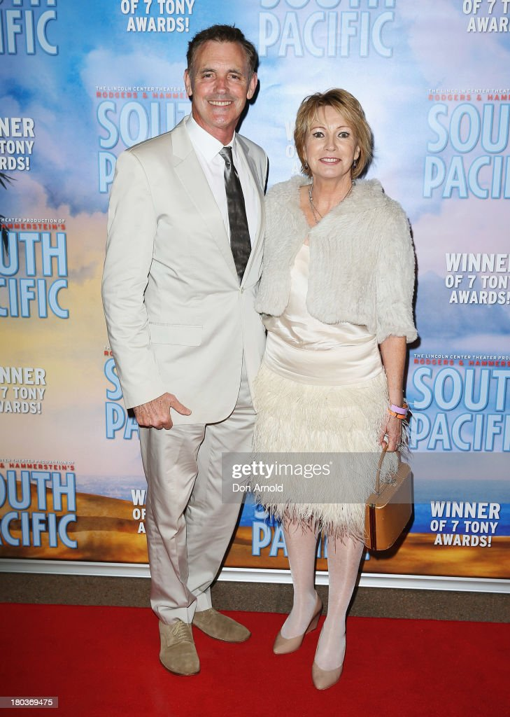 Andrew McFarlane and Liz Birch arrive at Opera Australia's 'South Pacific' opening night at the Sydney Opera House on September 12, 2013 in Sydney, Australia.