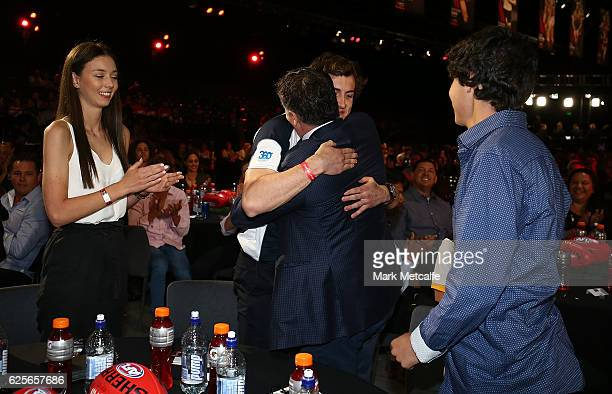 Andrew Mcgrath of Essendon celebrates with family after becoming the number one draft pick during the 2016 AFL Draft at Hordern Pavilion on November...