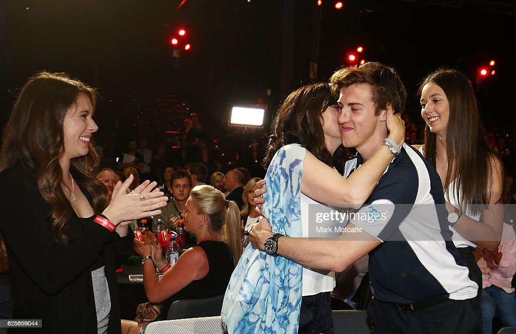 Andrew Mcgrath of Essendon celebrates with family after becoming the number one draft pick during the 2016 AFL Draft at Hordern Pavilion on November 25, 2016 in Sydney, Australia.