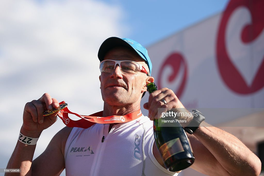Andrew Mcleod of Wanaka celebrates after completing Chllenge Wanaka twice on January 19, 2013 in Wanaka, New Zealand.