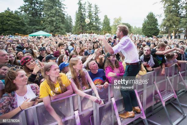 Andrew McMahon of Andrew McMahon in the Wilderness interacts with fans while performing during the Summer Camp Music Festival hosted by 1077 The End...