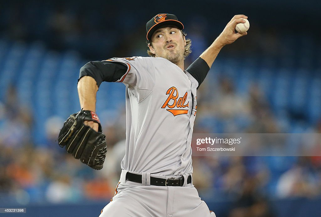 <a gi-track='captionPersonalityLinkClicked' href=/galleries/search?phrase=Andrew+Miller+-+Baseball+Player&family=editorial&specificpeople=4496823 ng-click='$event.stopPropagation()'>Andrew Miller</a> #48 of the Baltimore Orioles delivers a pitch in the eighth inning during MLB game action against the Toronto Blue Jays on August 5, 2014 at Rogers Centre in Toronto, Ontario, Canada.