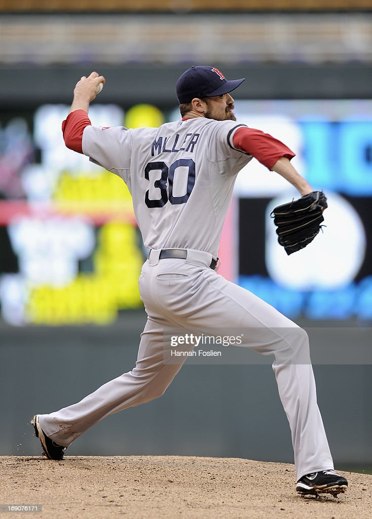 <a gi-track='captionPersonalityLinkClicked' href=/galleries/search?phrase=Andrew+Miller+-+Baseball+Player&family=editorial&specificpeople=4496823 ng-click='$event.stopPropagation()'>Andrew Miller</a> #30 of the Boston Red Sox delivers a pitch against the Minnesota Twins during the seventh inning of the game on May 19, 2013 at Target Field in Minneapolis, Minnesota.