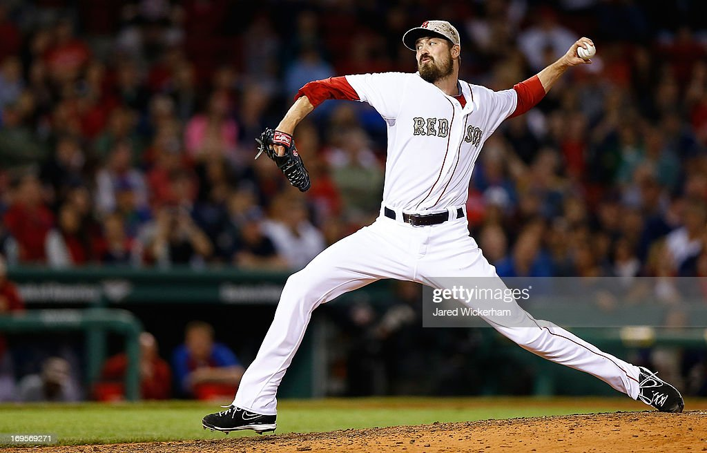 <a gi-track='captionPersonalityLinkClicked' href=/galleries/search?phrase=Andrew+Miller+-+Baseball+Player&family=editorial&specificpeople=4496823 ng-click='$event.stopPropagation()'>Andrew Miller</a> #30 of the Boston Red Sox pitches against the Philadelphia Phillies during the interleague game on May 27, 2013 at Fenway Park in Boston, Massachusetts.