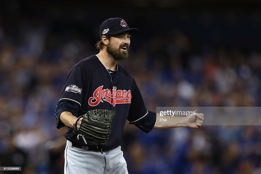 Andrew Miller #24 of the Cleveland Indians celebrates after defeating the Toronto Blue Jays with a score of 4 to 2 in game three of the American League Championship Series at Rogers Centre on October 17, 2016 in Toronto, Canada.