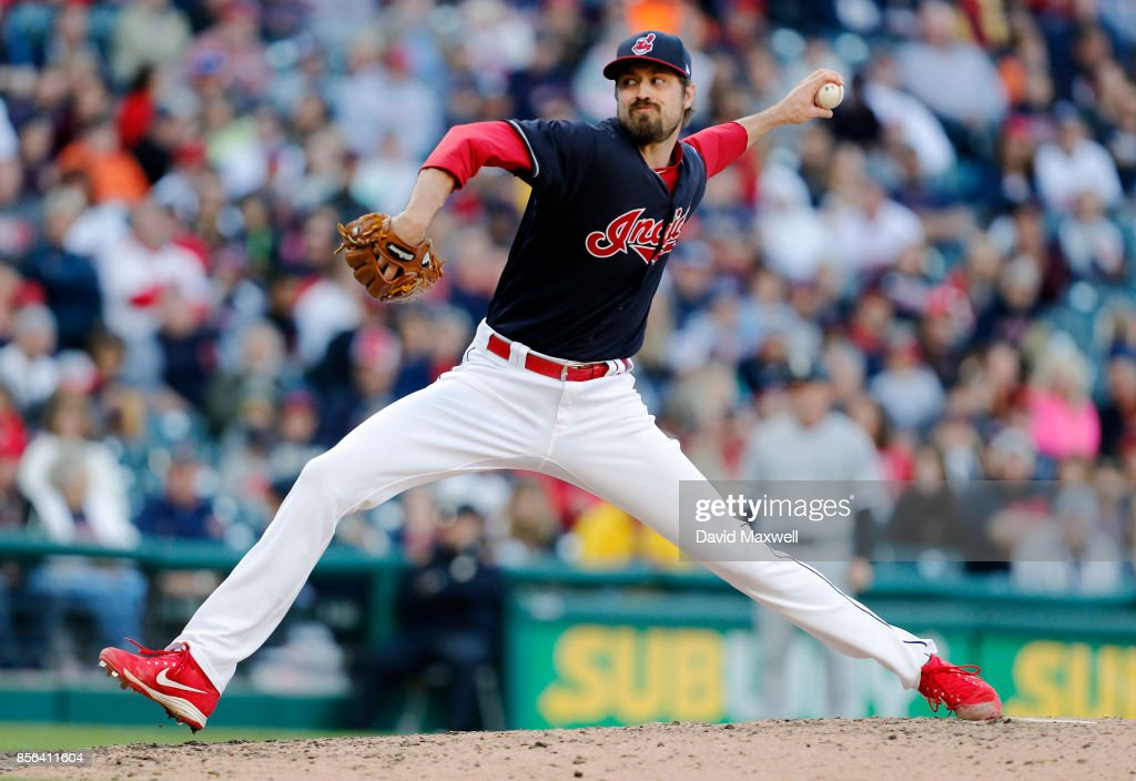 Andrew Miller #24 of the Cleveland Indians pitches against the Chicago White Sox in the seventh inning at Progressive Field on October 1, 2017 in Cleveland, Ohio. The Indians defeated the White Sox 3-1.