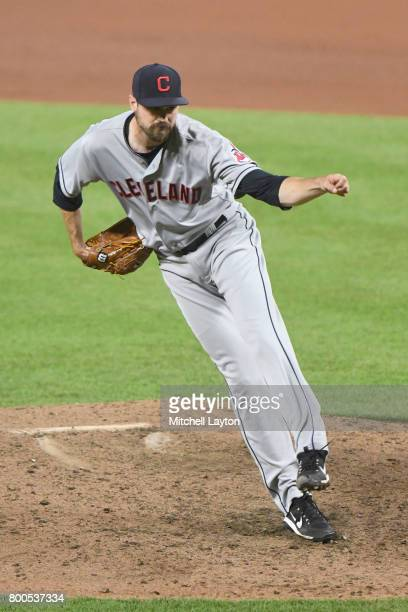 Andrew Miller of the Cleveland Indians pitches during a baseball game against the Baltimore Orioles at Oriole park at Camden Yards on June 21 2017 in...