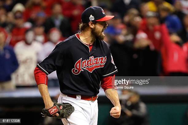 Andrew Miller of the Cleveland Indians reacts after striking out Kyle Schwarber of the Chicago Cubs to end the top of the eighth inning in Game One...