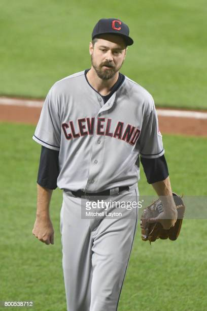 Andrew Miller of the Cleveland Indians walks back to the dug out during a baseball game against the Baltimore Orioles at Oriole park at Camden Yards...