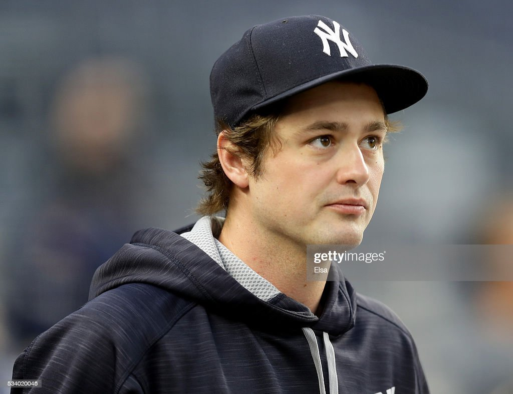 <a gi-track='captionPersonalityLinkClicked' href=/galleries/search?phrase=Andrew+Miller+-+Baseball+Player&family=editorial&specificpeople=4496823 ng-click='$event.stopPropagation()'>Andrew Miller</a> #48 of the New York Yankees looks on before the game against the Toronto Blue Jays at Yankee Stadium on May 24, 2016 in the Bronx borough of New York City.