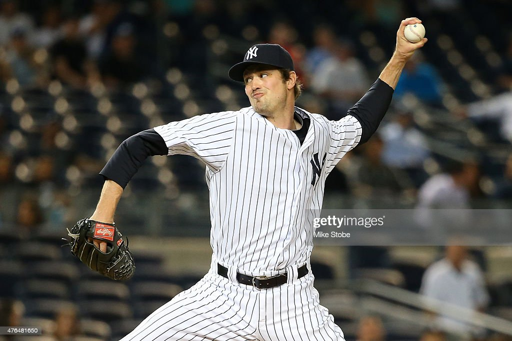 <a gi-track='captionPersonalityLinkClicked' href=/galleries/search?phrase=Andrew+Miller+-+Baseball+Player&family=editorial&specificpeople=4496823 ng-click='$event.stopPropagation()'>Andrew Miller</a> #48 of the New York Yankees pitches in the ninth inning against the Washington Nationals at Yankee Stadium on June 9, 2015 in the Bronx borough of New York City. Yankees defeated the Nationals 6-1.
