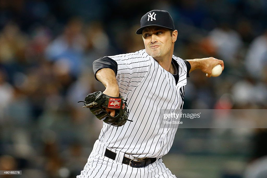 <a gi-track='captionPersonalityLinkClicked' href=/galleries/search?phrase=Andrew+Miller+-+Baseball+Player&family=editorial&specificpeople=4496823 ng-click='$event.stopPropagation()'>Andrew Miller</a> #48 of the New York Yankees pitches in the ninth inning against the Chicago White Sox at Yankee Stadium on September 26, 2015 in the Bronx borough of New York City. Yankees defeated the White Sox 2-1.