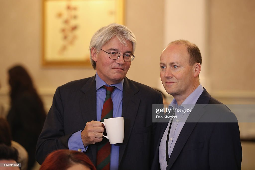 <a gi-track='captionPersonalityLinkClicked' href=/galleries/search?phrase=Andrew+Mitchell+-+British+Conservative+Politician&family=editorial&specificpeople=13766534 ng-click='$event.stopPropagation()'>Andrew Mitchell</a> MP (L) is seen with a cup of tea before Former London Mayor and Conservative MP Boris Johnson speaks as he launches his bid to become the next Conservative party leader at St Ermin's Hotel on June 30, 2016 in London, England. Nominations for MP's to declare their intention to run for the Conservative Party Leadership and therefore British Prime Minister will close by noon today. The current Prime Minister and party leader, David Cameron, announced his resignation the day after the UK voted to leave the European Union.