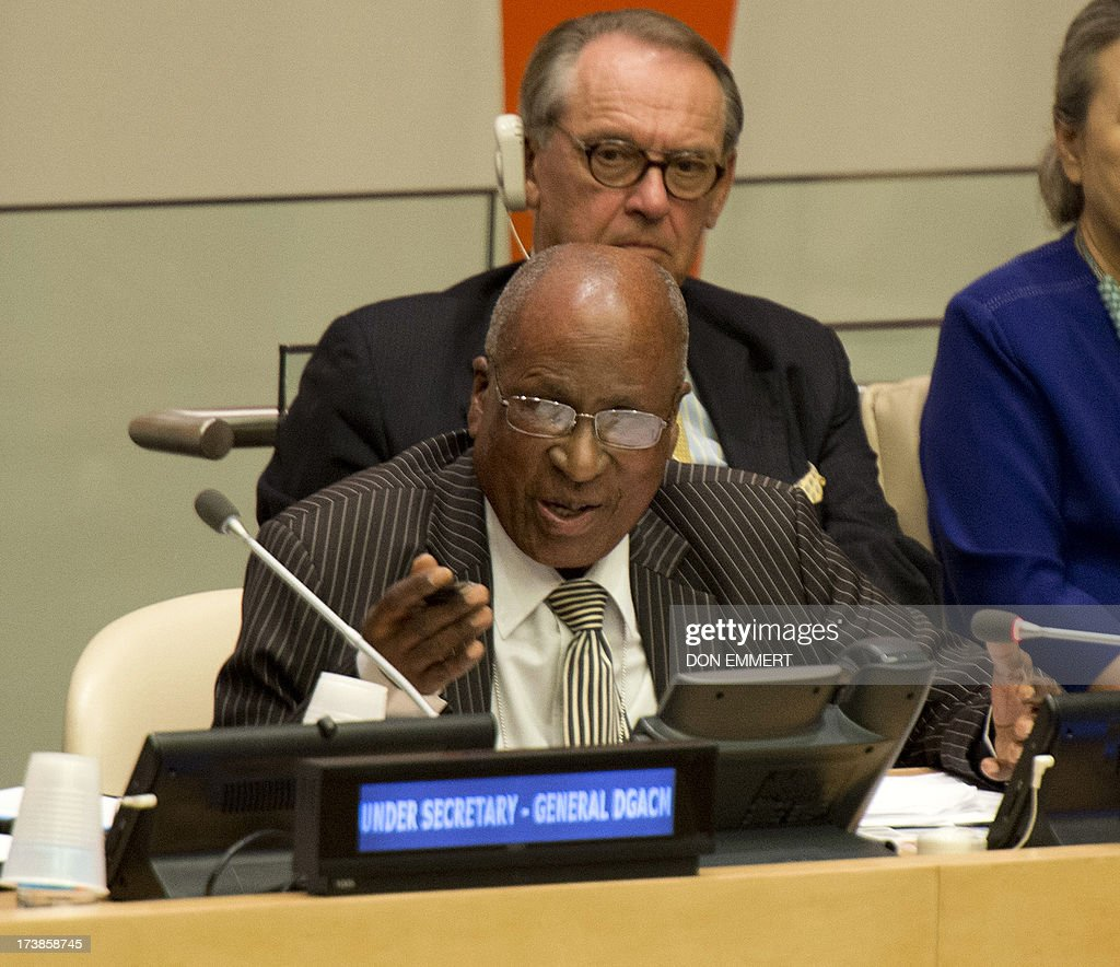 Andrew Mlangeni, close friend of Nelson Mandela, speaks during a meeting of the General Assembly on the commemoration of the Nelson Mandela International Day July 18, 2013 at the United Nations in New York. AFP PHOTO/Don Emmert