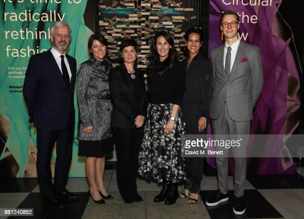 Andrew Morlet Leslie Johnston Ellen MacArthur Anna Gedda Virginia RustiquePetteni and Erik Bang attend the launch of the Circular Fibres Initiate...
