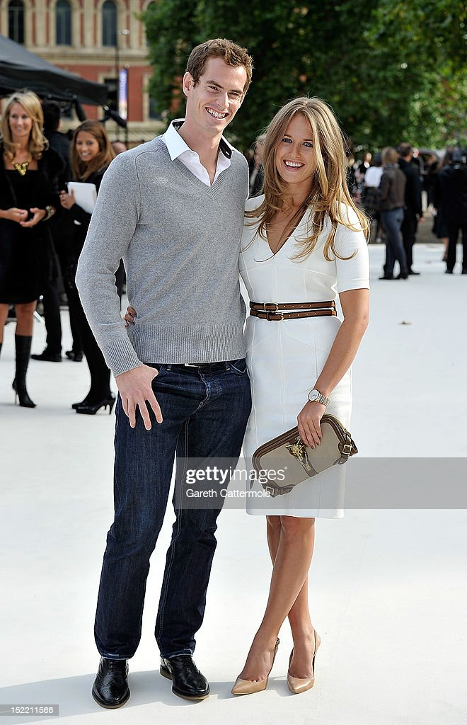 <a gi-track='captionPersonalityLinkClicked' href=/galleries/search?phrase=Andrew+Murray+-+Tennista&family=editorial&specificpeople=200668 ng-click='$event.stopPropagation()'>Andrew Murray</a> and Kim Sears arrive at the Burberry Spring Summer 2013 Womenswear Show at Kensington Gardens on September 17, 2012 in London, England.