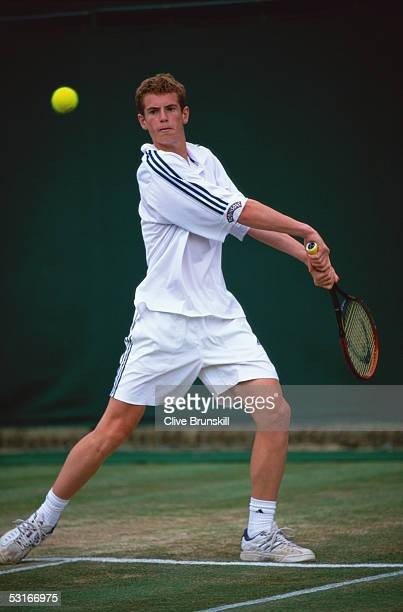 Andrew Murray in action during the Boys Singles during day eight of the Wimbledon Lawn Tennis Championships on July 2 2005 at the All England Lawn...