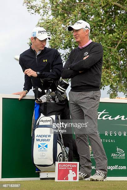 Andrew Murray of England and his son Tom in action during the final round of the European Senior Tour Qualifying School Finals played at Vale da...