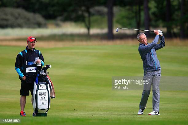 Andrew Murray of England in action during the first round of the Prostate Cancer UK Scottish Senior Open played on the Fidra Course Archerfield Links...
