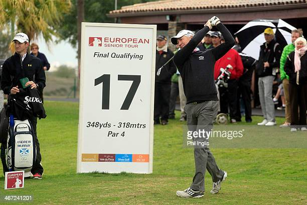 Andrew Murray of England in action on the 17th tee during the final round of the European Senior Tour Qualifying School Finals played at Vale da...