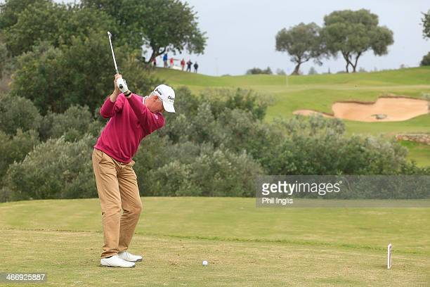 Andrew Murray of England in action on the 9th tee during the third round of the European Senior Tour Qualifying School Finals played at Vale da Pinta...