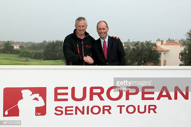 Andrew Murray of England shakes hands with Andy Stubbs Managing Director of the European Senior Tour after the final round of the European Senior...
